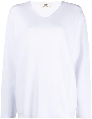 Sminfinity V-neck fine-knit jumper