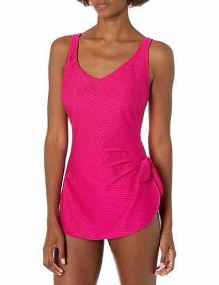 Maxine Of Hollywood Women's Side Tie Wide Strap Sarong Swim Dress One Piece Swimsuit