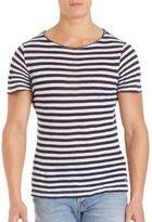 Eleventy Vintage-Collar Striped Shirt
