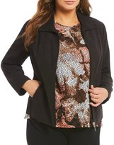 Allison Daley Plus Wing Collar Zip Front Lined Faux Suede Jacket