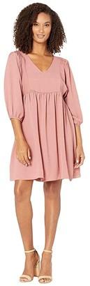 Ash American Rose Monet V-Neck Smocked Shoulder Dress Mauve) Women's Clothing