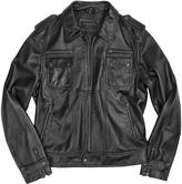 Forzieri Black Genuine Italian Leather Motorcycle Zip Jacket