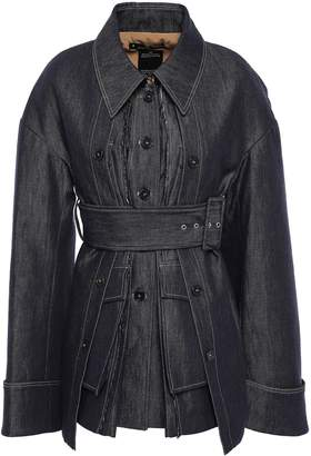 Rokh Belted Layered Frayed Denim Jacket