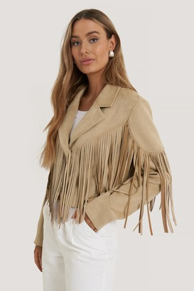 NA-KD Fringed Fake Suede Jacket