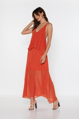 Nasty Gal Womens For So Long Now Strappy Maxi Dress - Orange - L