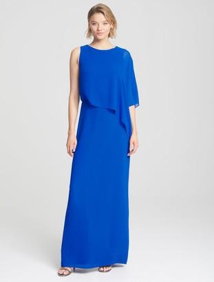 Halston Asymmetric Overlay Gown
