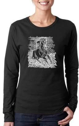 """Blade Tech Los Angeles Pop Art Women's """"POPULAR HORSE BREEDS"""" Long Sleeve T-Shirt"""