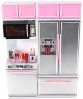Pink Refrigerator Toy Kitchen Doll Play Set