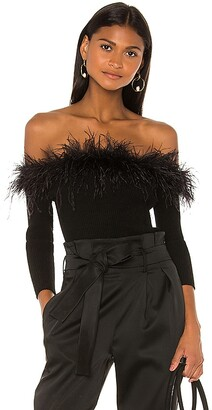 MILLY Feather Trim Top