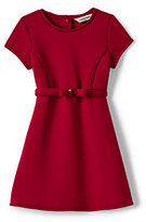 Classic Little Girls Bonded Knit Dress-Red