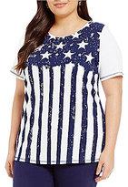 Allison Daley Plus Short Sleeve Starry Stripe Print Embellished Knit Top