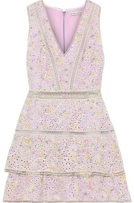 Alice + Olivia Tonie Tiered Floral-print Broderie Anglaise Modal Mini Dress