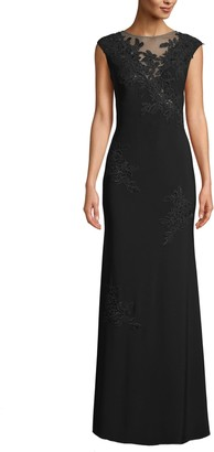 Xscape Evenings Mesh Inset & Embroidered Evening Dress
