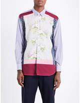 Comme Des Garcons Shirt Contrast-panel Regular-fit Cotton Shirt