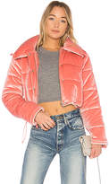 Lovers + Friends x REVOLVE Dee Cropped Puffer in Pink. - size L (also in M,S,XS,XXS)