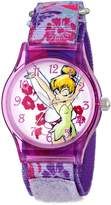Disney Kids' W001254 Tween Tinker Bell Plastic Watch, Stretch Nylon Strap, Analog Display, Analog Quartz, Watch
