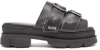 Ganni Buckled Leather Flatform Slides - Womens - Black