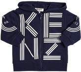 Kenzo Hooded Zip-Up Logo Cotton Sweatshirt