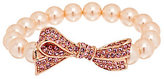 Kenneth Jay Lane Kenneth Jay Lane's Pave Bow Simulated Pearl Stretch Bracelet