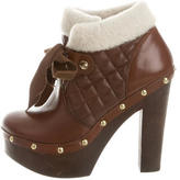 RED Valentino Quilted Fur-Trimmed Booties