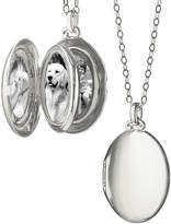 Monica Rich Kosann Silver Satin-Finish 4-Image Oval Locket Necklace