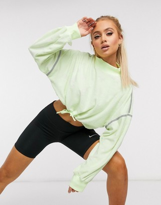Nike Training City Ready cropped fleece crew in volt