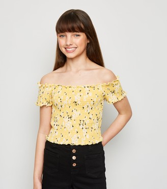 New Look Girls Floral Shirred Bardot Top