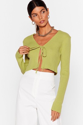 Nasty Gal Womens We All Love a Tie-r Knitted Cropped Cardigan - Washed Lime