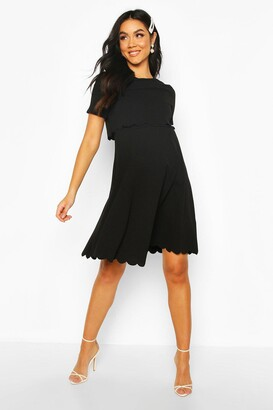 boohoo Maternity Double Layer Scallop Skater Dress