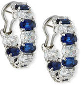 FANTASIA Alternating Blue & White CZ Hoop Earrings