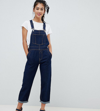 ASOS DESIGN Petite denim dungaree in rinsewash
