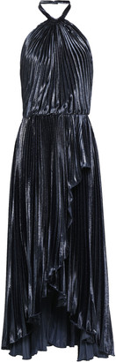 Philosophy di Lorenzo Serafini Open-back Pleated Lame Halterneck Midi Dress