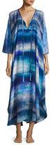 Josie Natori Blue Lagoon Silk Caftan, Blue Pattern