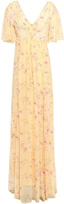 By Ti Mo Gathered Floral-print Fil Coupe Woven Maxi Dress