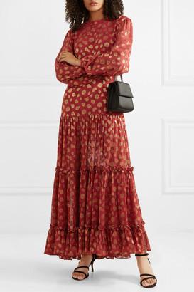 Rixo Tiered Paisley-print Metallic Fil-coupe Chiffon Maxi Dress