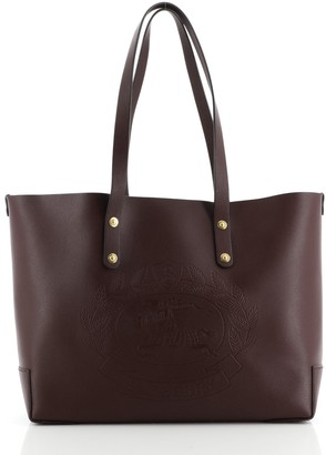 Burberry Crest Shopping Tote Leather Large