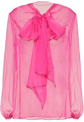 Valentino Silk Sheer Pussybow-Tie Shirt