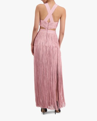 Herve Leger Fringe Cutout Cocktail Dress
