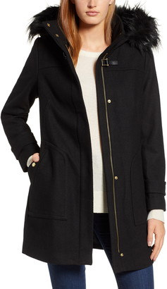Cole Haan Wool Blend Twill Duffle Jacket with Faux Fur Trim