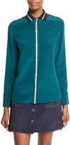 Rag & Bone Nico Long-Sleeve Tipped Silk Blouse, Teal