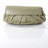 LAI Nude Python Snakeskin Flap Over Clutch Handbag
