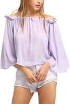 Doinshop Women Sexy Off Shoulder Chiffon Shirt Slash Neck Loose Long Sleeve Blouse (XL, )