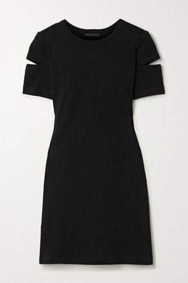 Helmut Lang Cutout Ribbed Cotton-jersey Mini Dress - Black