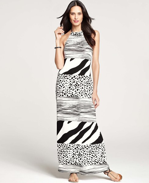 Ann Taylor Petite Animal Trio Stripe Halter Maxi Dress