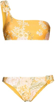 Zimmermann Amelie one-shoulder floral-print bikini set