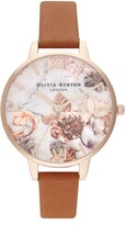 Olivia Burton Marble Florals Leather Strap Watch, 34mm