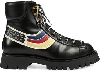Gucci Graphic Print Lace Up Boots