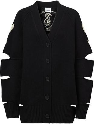 Burberry Crest Intarsia-Knit Cardigan