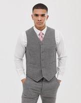 Asos Design DESIGN wedding super skinny suit vest in gray houndstooth