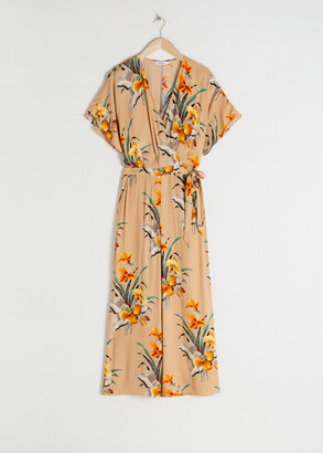 And other stories Tropical Flower Wrap Jumpsuit